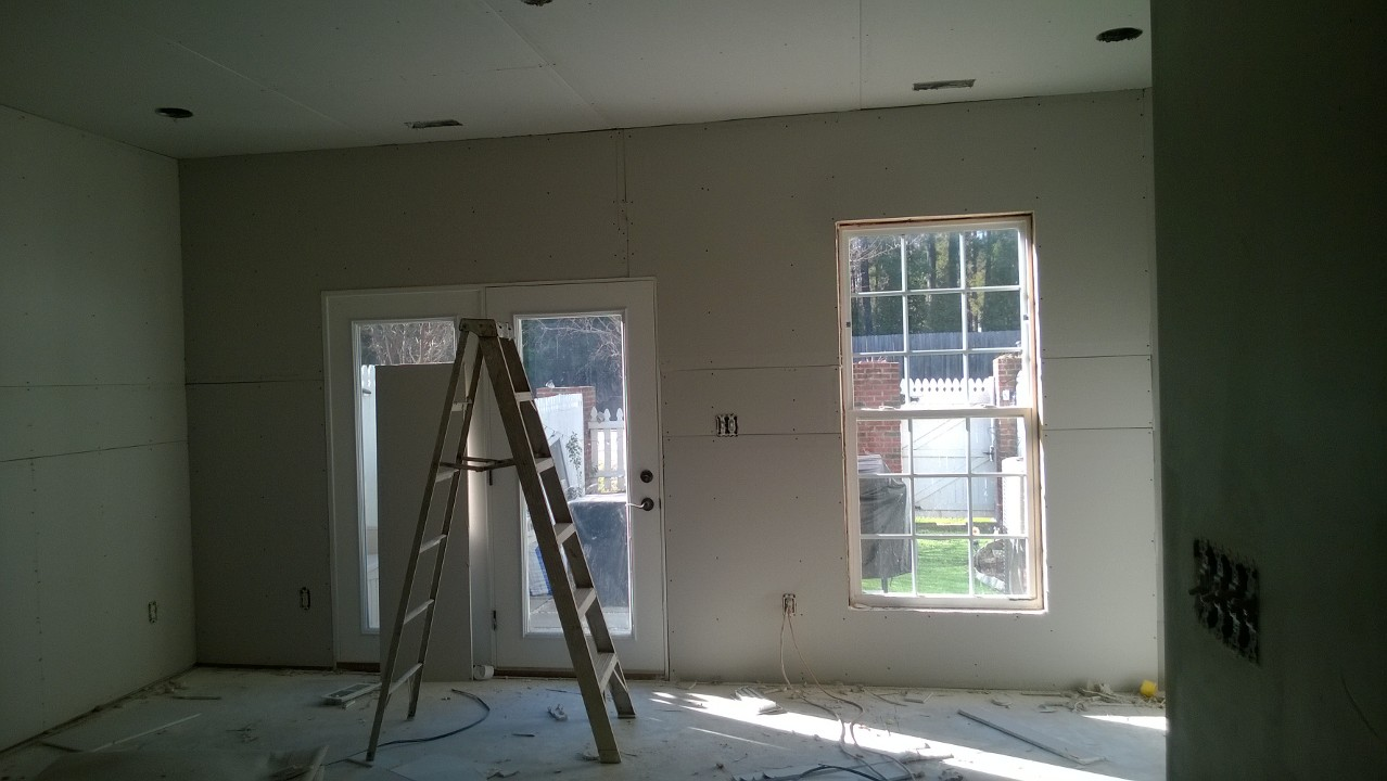 Drywall in the living room
