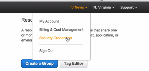Amazon AWS Security Credentials in the Web Console